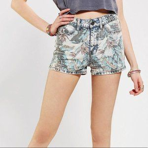Faded Tropical Print Denim Shorts by BDG